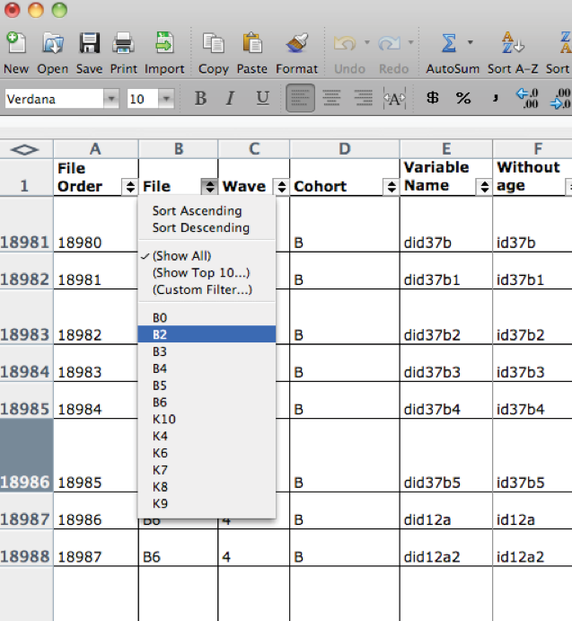 Figure 4: Example of filtering in Excel