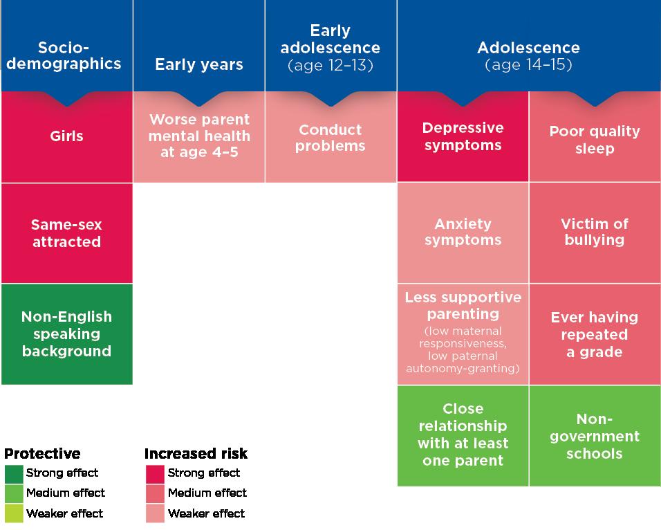 Figure 4: Key risk factors across childhood associated with self-injury. Read text description.