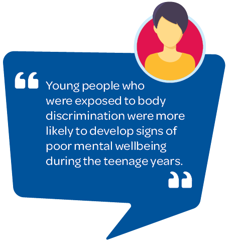 Young people who were exposed to body discrimination were more likely to develop signs of poor mental wellbeing during the teenage years.