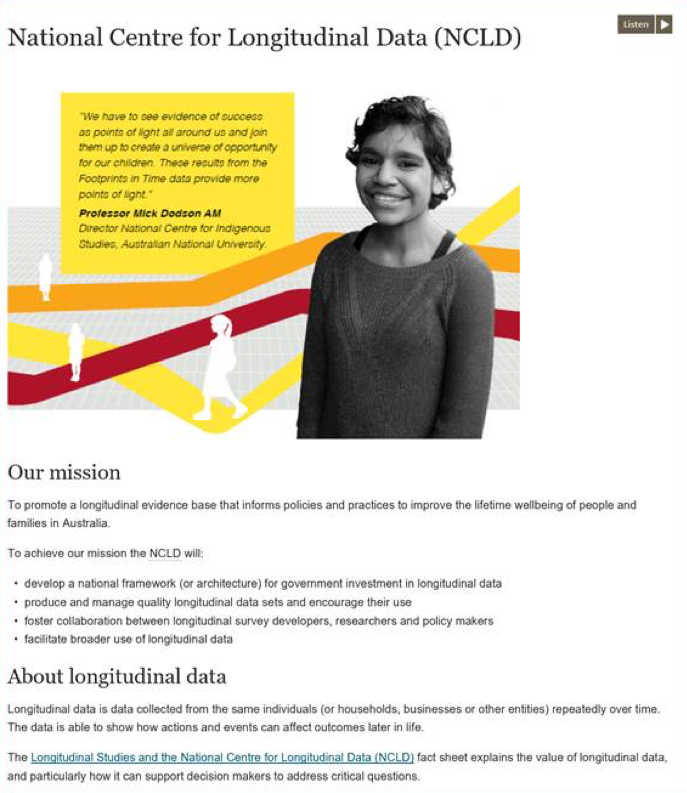 Screenshot of the National Centre for Longitudinal Data website