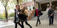 Image of students leaving school