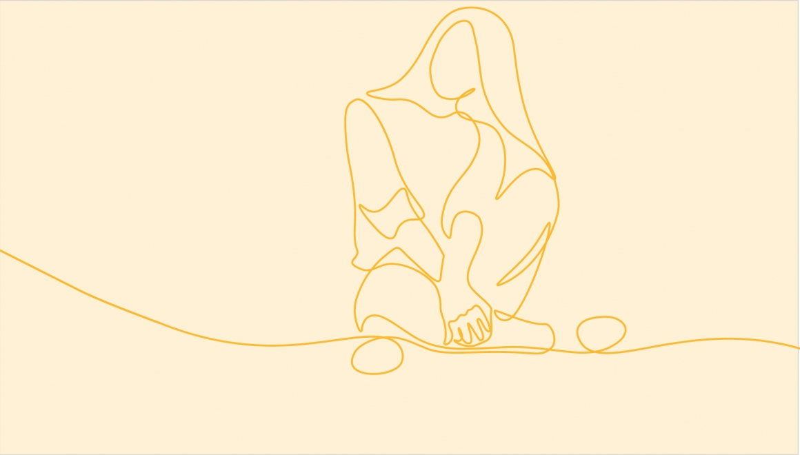 Young woman sitting cross-legged on the floor. Continuous line art drawing style. Minimalist black linear sketch isolated vector illustration