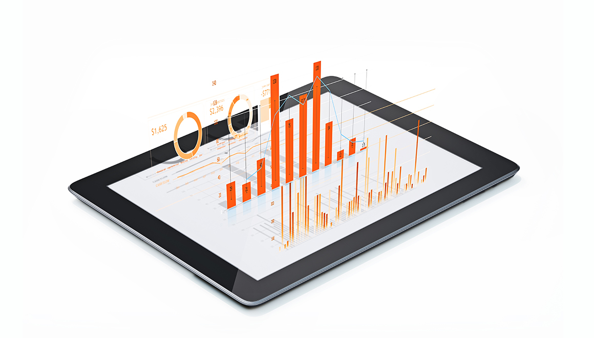 Financial Diagrams and Charts Being Projected From A Digital tablet Orange colored financial diagrams and charts are being projected from a digital tablet. Horizontal composition with copy space. Isolated on white background. Financial and scientific analysis concept.